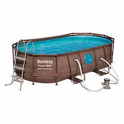 Овальный каркасный бассейн Bestway 56714 (427-250-100 см) Power Steel™ Swim Vista Series™