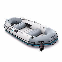 Тримісна Intex надувний човен 68373 (297 x 127 x 46 см) Mariner 3 (В комплекті алюмінієві весла і ручний