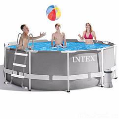 Круглый каркасный бассейн Intex 26706 Metal Frame Pool (305х99 см) + насос + лестница