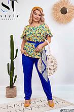 Летний брючный костюм женский Штапель Размер 50 52 54 56 В наличии 4 цвета