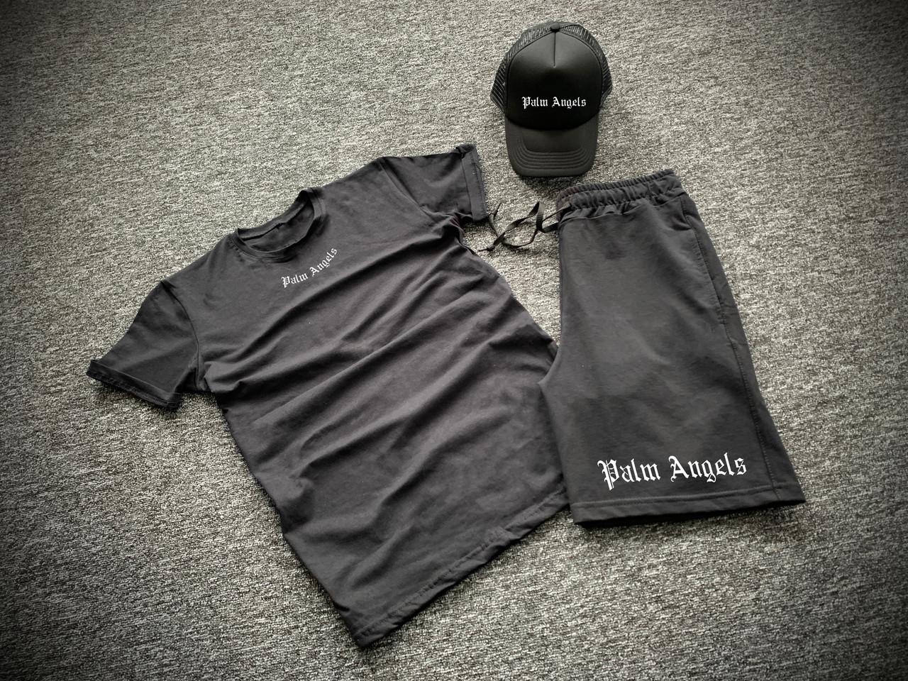Комплект футболка шорты + бейсболка с принтом Palm Angels черный мужской | Набор летний ЛЮКС качества