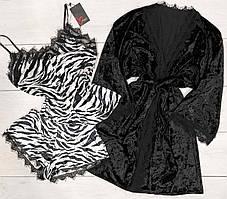 Набор одежды для дома из велюра халат+пижама, майка и шорты.