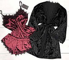Черный халат+пижама, майка и шорты - велюровый комплект тройка.