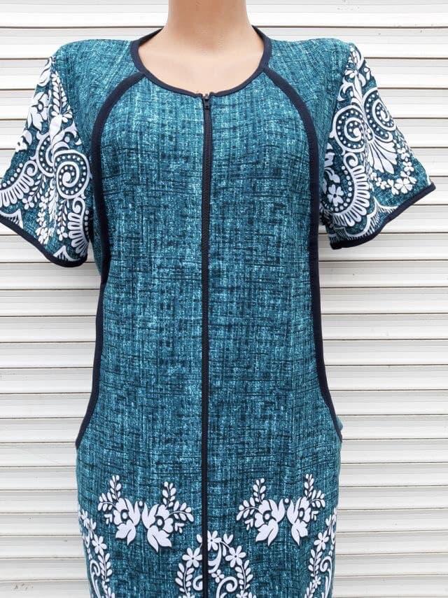 Трикотажний халат 54 розмір Бірюзовий меланж