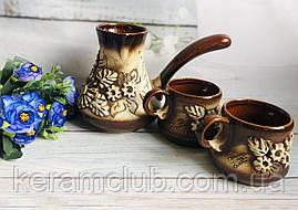 Набор для кофе Лепка большой Керамклуб турка 500 мл и 2 чашки
