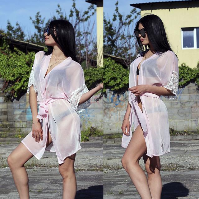 Женский пляжный халат в кружевными рукавами