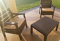 """Комплект садовой мебели """"Barselona"""" (стол, 2 кресла) Irak Plastik, Турция, Темно-Коричневый"""