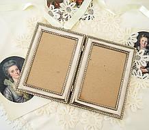 Старая английская фоторамка на два фото, парная рамка, посеребренный металл, Англия, винтаж