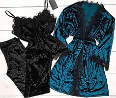 Пижама женская штаны и майка+халат - велюровый набор одежды для дома.