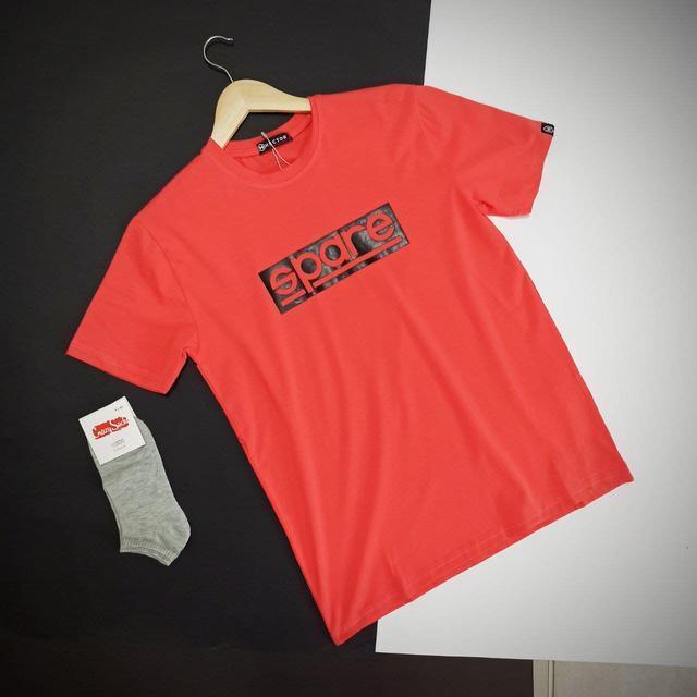 Чоловіча синя футболка з написами / Молодіжна чоловіча футболка з бавовни з принтом, фото 2