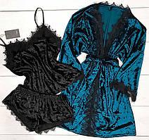 Велюровая пижама+халат - комплект домашней одежды.