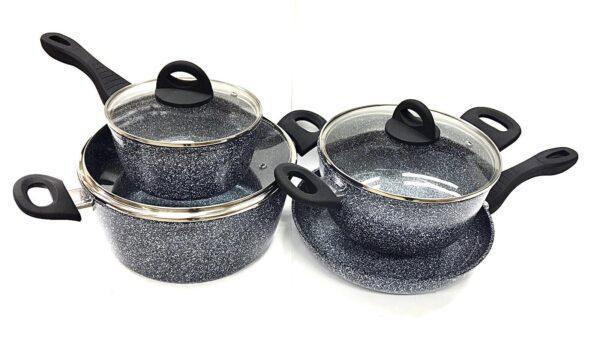 Набор посуды Benson BN-577 с гранитным антипригарным покрытием (7 пр.)   казан, кастрюля с крышкой, сковорода