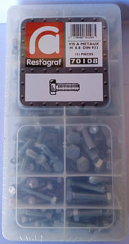 Набор болтов DIN 933 8.8 Шестигранная головка Цинк (70108)