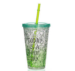 Стакан полікарбонатний охолоджуючий з трубочкою ICE CUP Benson BN-284 зелений | пляшка з льодом Бенсон