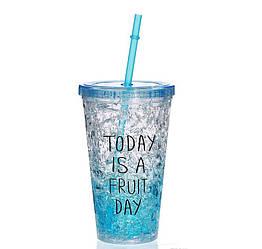Стакан полікарбонатний охолоджуючий з трубочкою ICE CUP Benson BN-284 блакитний | пляшка з льодом Бенсон