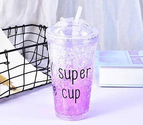 Стакан полікарбонатний охолоджуючий з трубочкою ICE CUP Benson BN-283 фіолетовий | пляшка з льодом Бенсон