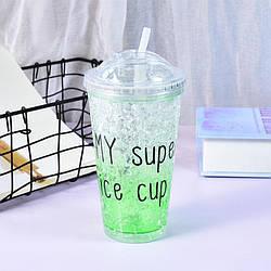 Стакан полікарбонатний охолоджуючий з трубочкою ICE CUP Benson BN-283 зелений | пляшка з льодом Бенсон