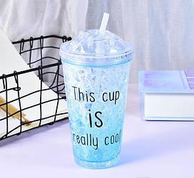 Стакан полікарбонатний охолоджуючий з трубочкою ICE CUP Benson BN-283 блакитний | пляшка з льодом Бенсон