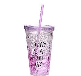 Стакан полікарбонатний охолоджуючий з трубочкою ICE CUP Benson BN-284 фіолетовий | пляшка з льодом Бенсон