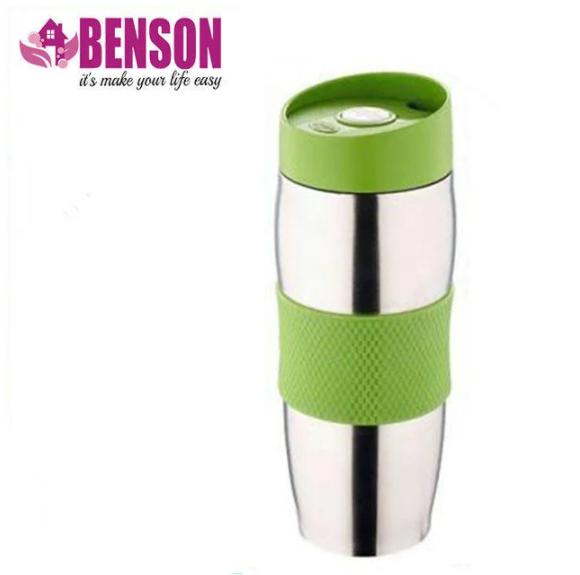 Термокружка металева з поїлкою Benson BN-40 зелена (380 мл)   термочашку з нержавіючої сталі   термочашка