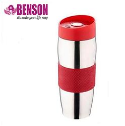 Термокружка металлическая с поилкой Benson BN-40 красная (380 мл)   термостакан из нержавеющей стали  