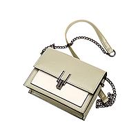 Женская двухцветная мини сумка на кнопке, светлый клатч из эко-кожи на цепочке, CC-3610-42