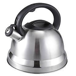 Чайник зі свистком з нержавіючої сталі Benson BN-709 (3 л), нейлонова ручка, індукція | свистить чайник