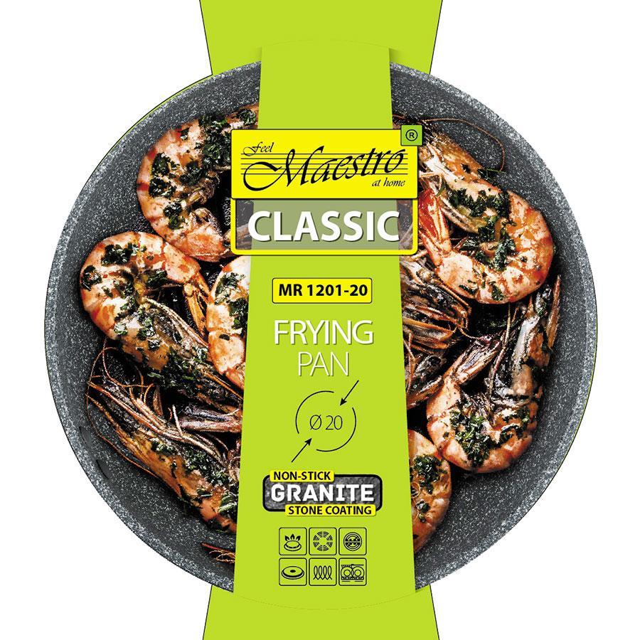 Сковорода антипригарная Maestro MR-1201-20 (покрытие Granite, Ø 20 см)   сковородка Маэстро, сотейник Маестро