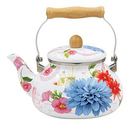 Емальований чайник з рухомою дерев'яною ручкою Benson BN-109 білий з малюнком (2.5 л)