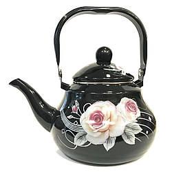 Емальований чайник з рухомою ручкою Benson BN-102 чорний з малюнком (2 л)