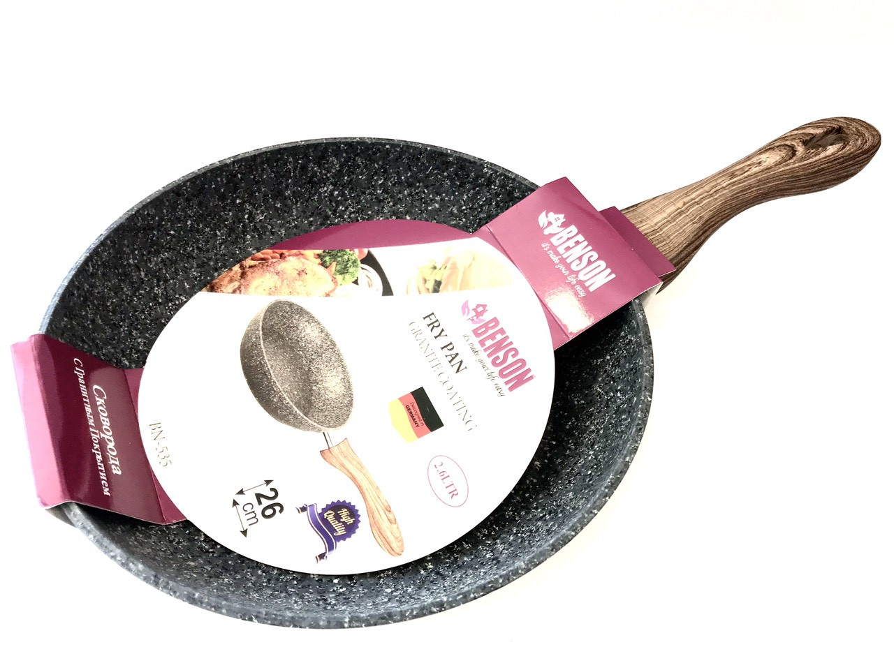 Сковорода Benson BN-535 (26 см) с антипригарным гранитным покрытием   сковородка Бенсон, сотейник Бэнсон