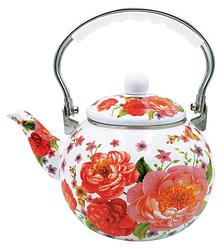 Емальований чайник з рухомою ручкою Benson BN-110 білий з червоним (2,5 л) | чайник Бенсон, Бэнсон