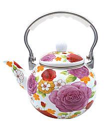 Емальований чайник з рухомою ручкою Benson BN-110 білий з рожевим (2,5 л) | чайник Бенсон, Бэнсон