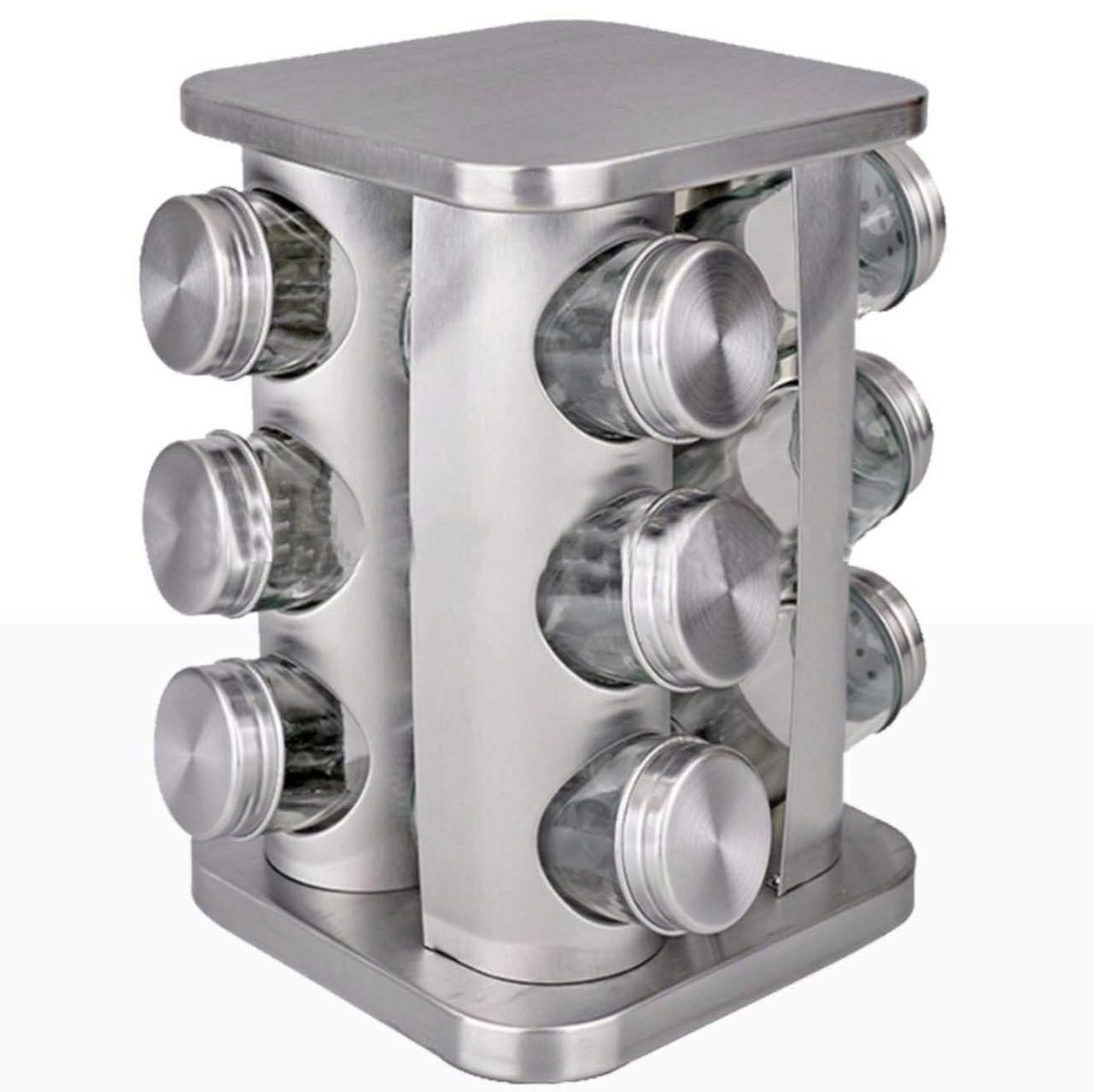 Набор баночек для специй и приправ Benson BN-139 из 12 сосудов на подставке серый | спецовник 12 шт Бенсон