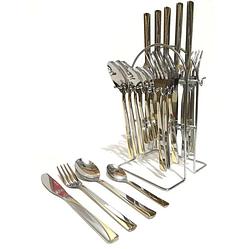 Столовый набор Benson BN-459 на подставке (24 пр.) | набор столовых приборов Бенсон | ложки и вилки Бэнсон