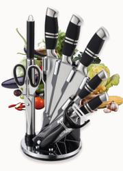 Набор ножей на подставке Benson BN-402 из нержавеющей стали (8 пр) кухонный нож, ножницы, овощечистка, точилка