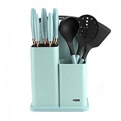 Набор ножей на подставке Benson BN-412 из нержавеющей стали (10 пр) кухонные принадлежности, разделочная доска