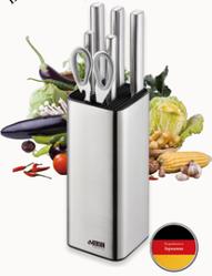 Набор ножей на подставке Benson BN-411 из нержавеющей стали (7 пр) | кухонный нож Бенсон, ножницы Бэнсон