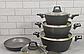 Набір посуду Benson BN-344 (7 тощо) з мармуровим покриттям   каструля з кришкою, сковорода Бенсон, каструлі, фото 5