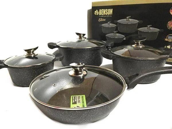 Набор посуды Benson BN-333 (8 предметов) мраморное покрытие   кастрюля с крышкой, кастрюли   сковорода Бенсон