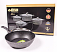 Набор посуды Benson BN-333 (8 предметов) мраморное покрытие   кастрюля с крышкой, кастрюли   сковорода Бенсон, фото 3