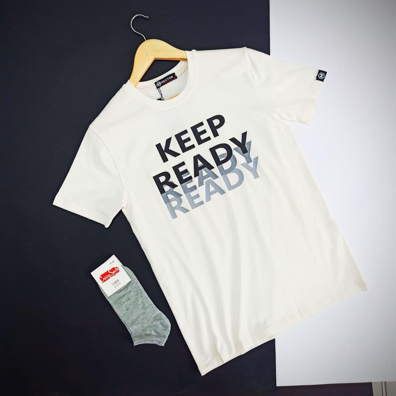 Чоловіча класична біла футболка kEEP з короткими рукавами і круглою горловиною весна-літо