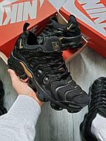 Мужские кроссовки Nike Air VaporMax Plus (черные с золотым) 646TP повседневная стильная обувь