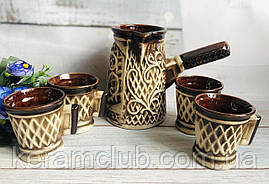 Набор для кофе Керамклуб Азия турка 500 мл и 2 чашки