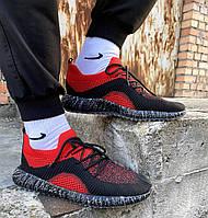 Кроссовки стильные молодежные мужские из текстиля летние, черно красные