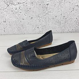 Туфли женские летние, мокасины женские легкие, балетки на широкую ногу | Эко кожа | Черные 1419397182