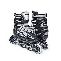 Раздвижные ролики  POWER CHAMPS, чёрные, светящиеся колеса