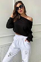 Женский укороченный свитшот из трикотажа, оверсайз. Длинные рукава, стильный. Черный