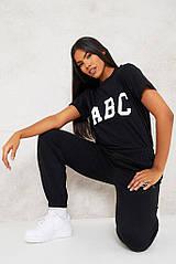 Футболка женская с принтом прикольной надписью базовая турецкий кулир, футболка летняя (черный, молочный) 42-4