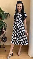 Платье с коротким рукавом в горох